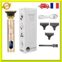 Tondeuse à cheveux et barbe électrique professionnelle sans fil, rasoir LED PRO