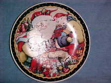 """Rare Mary Engelbreit Christmas Plate Santa Claus With Children And Gifts 7"""""""