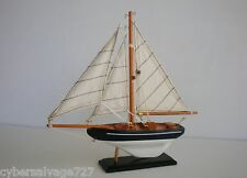 "9"" Wooden Model Sailboat Rustic on Display Stand Fully Assembled Desk Decoration"