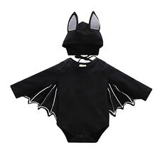 Toddler Kids Baby Halloween Cosplay Bat Romper Hat Outfit Black Fancy Costumes