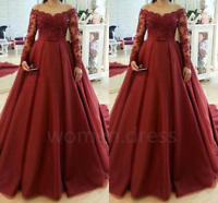 Burgundy Ball Gown Quinceanera Dress Sexy V Neck Long Sleeves Evening Prom Gown
