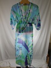 MISSES ICONIC EMILIO PUCCI BLUE MULTI PRINTED COTTON SILK MAXI KAFTAN IT 38 US 4