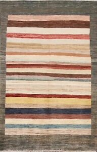Striped Gabbeh Modern Oriental Area Rug Hand-knotted Wool Foyer Carpet 4x6 ft
