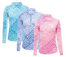 IBKUL Womens Liz Print Long Sleeve Zip Polo 41513 - New 2020