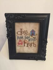 Dogs Leave Pawprints On Your Heart Needlework Picture. Framed. New.