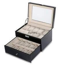 20 Uhren Uhrenkasten Uhrenkoffer Uhrenbox Uhrentruhe schwarz Uhrenschatulle Neu