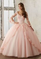 Long sleeve Quinceanera Pageant Wedding dress Ball Gowns Prom Party dress Custom