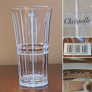 "New w/ Tag CHRISTOFLE Scottish Pattern Large 11.5"" Tall Crystal Flower Vase"