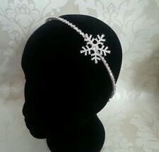 HANDMADE SNOWFLAKE WINTER DIAMANTE SILVER BRIDAL BRIDESMAID SIDE HEADBAND TIARA