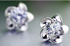 2*0.5CT Plum Flower Diamond Stud Earring Sterling Silver 925 Gift her wedding#29