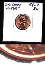 GEM BU 1958-P Rare DDO/Die-Break NO VDB Wheat Cent NR!!
