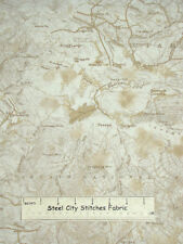 Timeless Treasures Cabin-9125 Map National Park Forest Ecru Cotton Fabric 1.53Yd