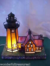 Vintage HM 2 Light Stained Glass LIGHTHOUSE Lamp Nautical Marine Art BEAUTIFUL!
