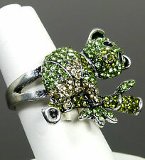 VoE Boutique Panda on Bamboo  Green  Austrian Crystal Cocktail Ring Sz9