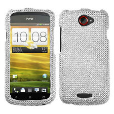 T-MOBILE HTC ONE S RHINESTONE HARD SNAP ON CASE SILVER DIAMANTE