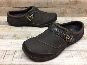 Merrell Espresso Brown Leather Slip-On Buckle Mules Slides Women's sz 8.5