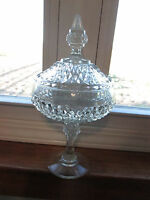 "Vintage Clear Indiana Glass Covered Candy Dish 12"" Tall Pedestal Diamond Point"