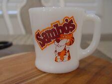 Fire-King Sambo'S Family Restaurant Coffee Shop Milk Glass Advertising Mug