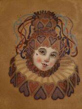 "Needlepoint Painted Canvas - Pierrot Clown - 11""x 14"""