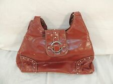 St. Johns Bay Purse/Handbag Multi Pocket Button Fasten Silver Accents Red 50340