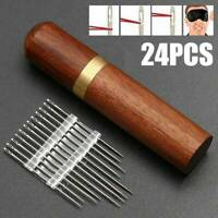 24Pcs/Set Stainless Steel Self-threading Needles Opening Sewing Darning Kit AU