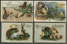 Four c.1906-10 Litho Easter Postcards BUNNY RABBITS CHICKS CHICKEN KITTEN