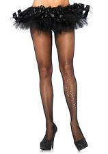 BLACK SPANDEX SHEER RHINESTONE DIAMON TE GALAXY TIGHTS BURLESQUE LEG AVENUE 7902