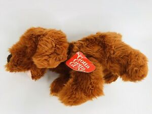 "Vintage Gund 15"" Orange Rust Brown Fluffy Plush Dog 1992 WOOF With Tag"