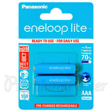 2 x Panasonic eneloop LITE AAA 550mAh batteries Ni-MH Rechargeable HR03 BK-4LCCE