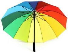 Large Canopy Rainbow Umbrella Multicolour Durable Strong Storm Windproof Parasol