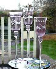 VINTAGE CRANBERRY GLASS CANDLE HOLDERS GRADUATED SET OF 3