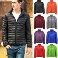 Packable Mens 90% Duck Down Jacket Lightweight Stand Collar Coat Puffer Outwear