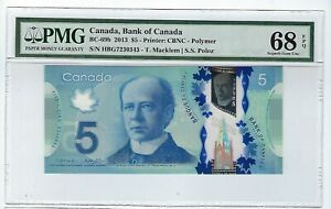 Canada Bc-69 b $5  Prefixe  HBG  MACKLEM- Poloz  PMG 68 EPQ Tougher of the 2