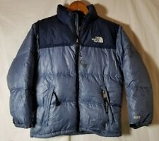 Childrens North Face 600 Jacket Navy Blue Goose Down Youth Medium Stains* B568