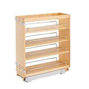 "Rev-A-Shelf 448-BC-8C 8"" Pullout Wood Kitchen Cabinet Organizer Rack, Maple"
