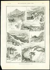 1889 Antiguo impresión Japón vista de montaje Fujiyama Fuji volcán Honshu (122)