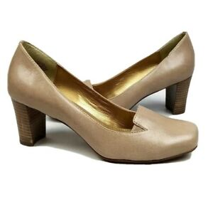 Circa Joan David 7 square-toe classic pumps taupe beige leather style Voyeur