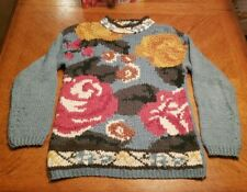 Vintage One Step Up Sz S Acrylic Mock Neck Hand Knitted Sweater Roses Flowers