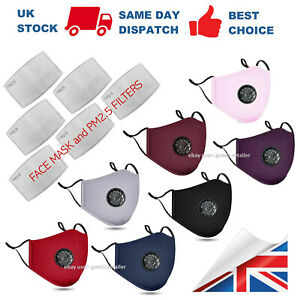 Cotton Face Mask with PM2.5 Filter Pocket Air Valve Washable Reusable Respirator