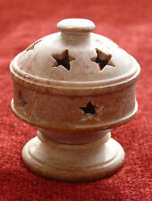 Stars Marble Incense Burner Cone 5 Stick Holder w Lid Cover 2.5in x 2in - India