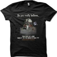 FLAT EARTH FE Theory Moon Landing Conspiracy printed  t-shirt 9080
