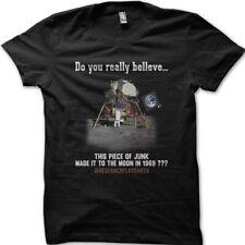 FLAT EARTH FE Theory Moon Landing Conspiracy printed  t-shirt 9080