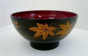 """2 Pcs. 4.5"""" D Lacquer Ware Miso Soup Rice Bowls/Maple Pattern /Made in Japan/001"""