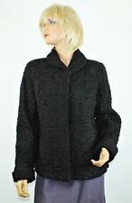 Saks Washington Luscious Black Curly Persian Lamb Coat Jacket Satin Lined M/L