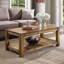 Solid Wood Coffee Table Rustic Indoor Cocktail Splits Natural Decor Brown Maple