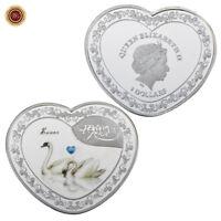 WR Pièce en forme de cœur en Argent Couleur Cygne 1$ Queen Elizabeth