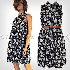 Mini Floral Sleeveless Collar Dresses for Women