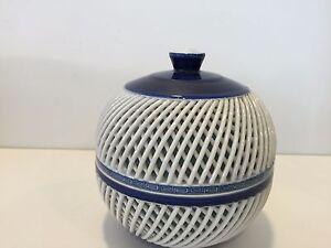 "Vintage Japanese Arita Blue & White Double Wall Trinket Box, 5 1/4"" T x 4 3/4"" D"