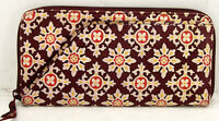 Vera Bradley Travel Organizer zip around passport wallet clutch Medallion brown