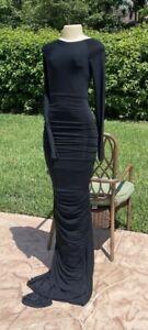 DONNA KARAN COLLECTION BLACK LONG SLEEVE STRETCH OPEN BACK LONG GOWN DRESS Sz M